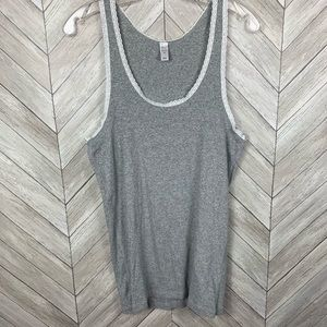 Gray with white lace trim tank top